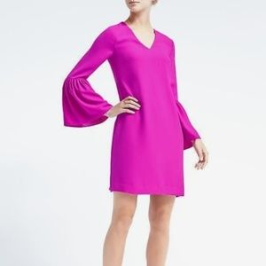 Banana Republic Bell Sleeve Magenta Shift Dress